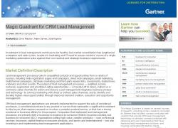 magic quadrant for CRM lead management 2014